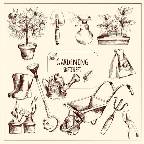 Ensemble de croquis de jardinage vecteur
