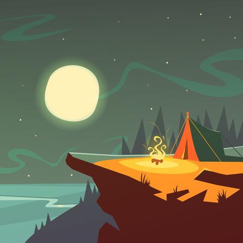 Fond de randonnée de nuit vecteur