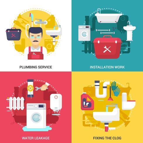 Service de plomberie 4 icônes plat Square vecteur