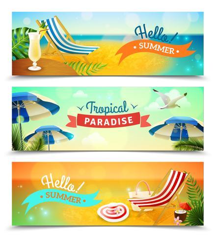 Ensemble de bannières de plage tropicale vecteur