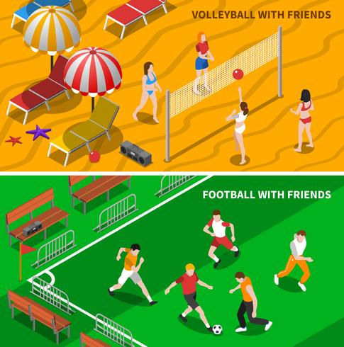 Friends Sport 2 Composition de bannières isométriques vecteur