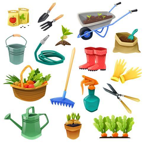 Icônes de couleurs décoratives de jardinage vecteur