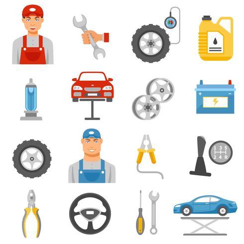 Jeu d'icônes plat service de réparation de voiture vecteur