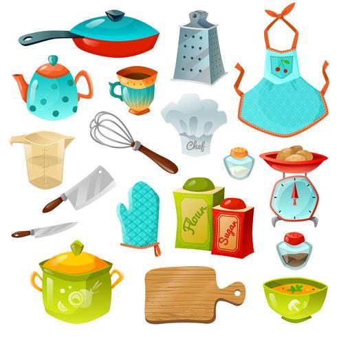 Jeu d'icônes décoratives de cuisine vecteur