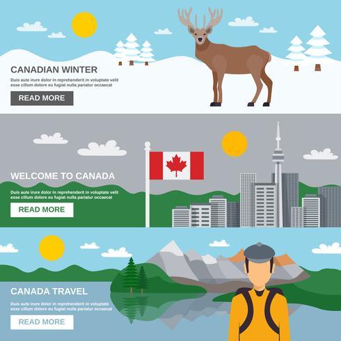 Ensemble de bannières horizontales Canada Travel vecteur