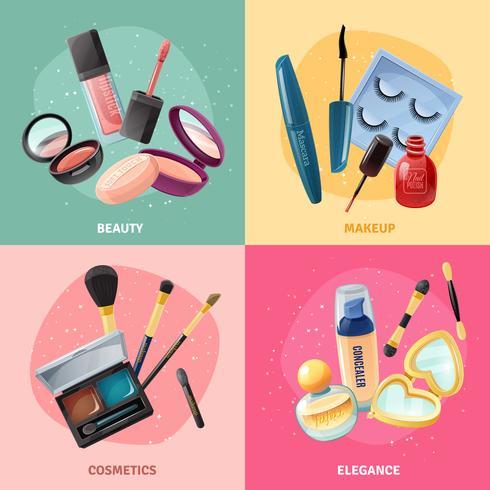 Cosmétiques Maquillage Concept 4 Icônes Carré vecteur