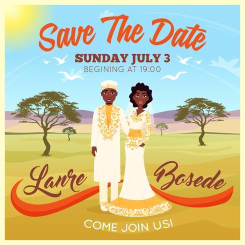 Affiche de couple de mariage Africains vecteur