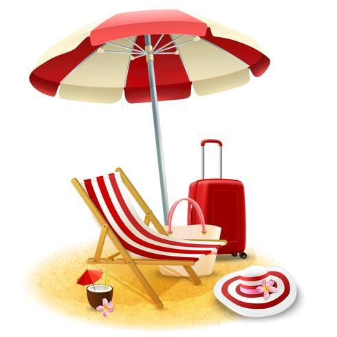 Illustration de chaise de plage et parasol vecteur