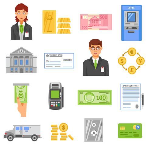 Icônes de couleurs isolées de banque vecteur