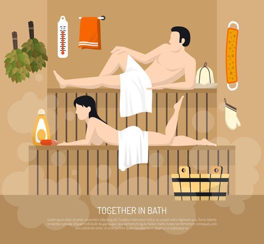 Affiche d'illustration de visite de famille de sauna de Bath vecteur