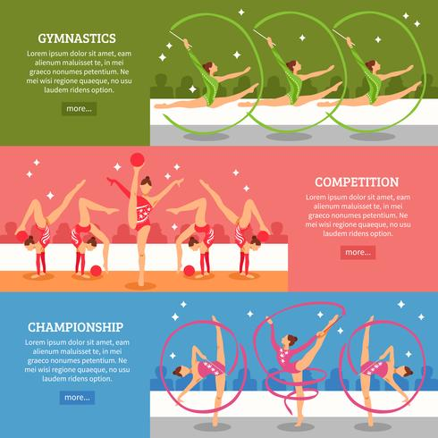 Bannières horizontales de gymnastique d'art vecteur