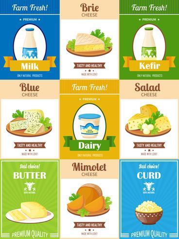 Lot d'affiches sur les produits laitiers vecteur