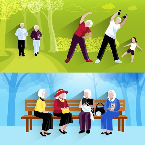 Ensemble de bannières horizontales de personnes âgées vecteur