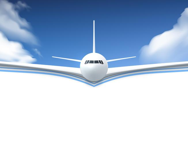 Affiche réaliste d'avion vecteur