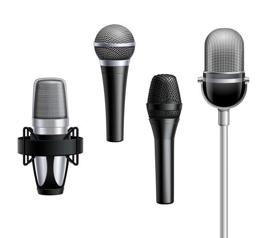 Collection de microphones dans un style réaliste vecteur