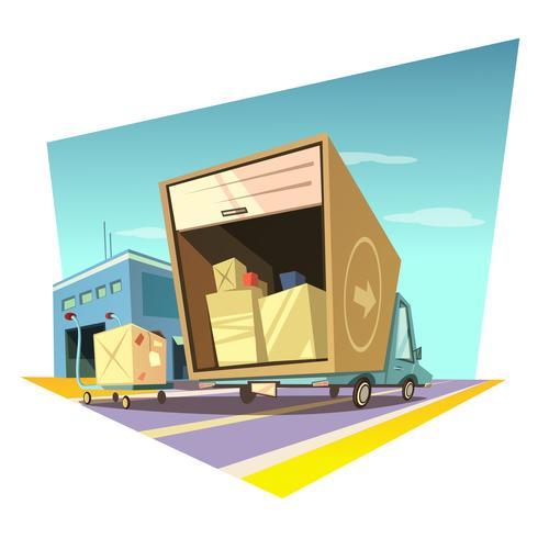 Illustration de dessin animé d'entrepôt vecteur