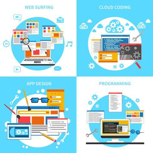 Développement Web Concept Icons Set vecteur