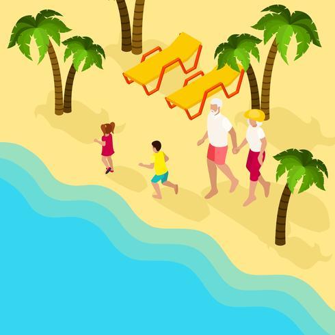 Bannière isométrique de personnes retraitées en vacances en famille vecteur