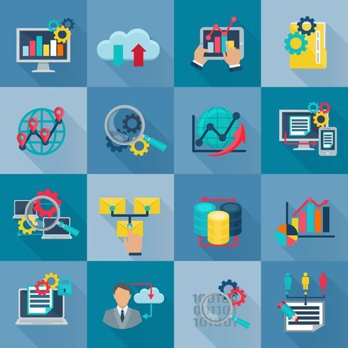 Big Data Analytics Icônes à plat vecteur