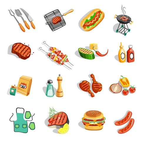 Barbecue alimentaire accessoires plats Icons Set vecteur