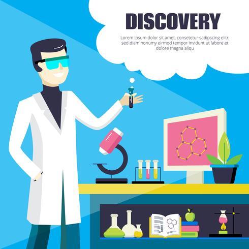 Illustration de découverte scientifique et de laboratoire vecteur
