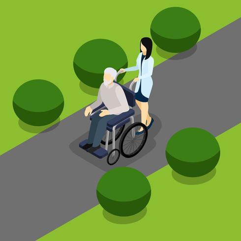 Bannière isométrique de la vie des retraités handicapés vecteur
