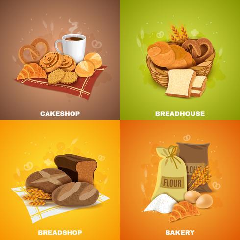 Boulangerie Boulangerie 4 Plat Icons Square vecteur