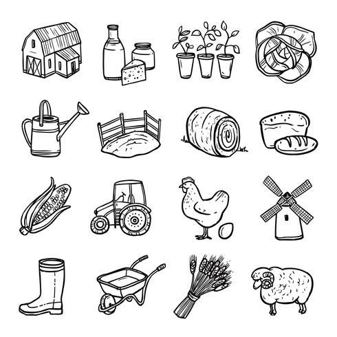 Agriculture noir blanc Icons Set vecteur
