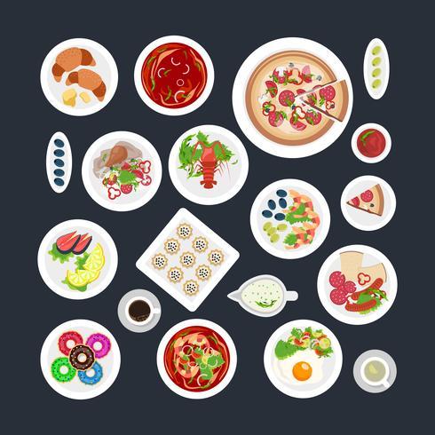 Vue de dessus de plat de nourriture vecteur