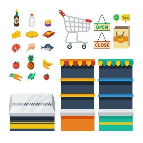 Collection d'icônes décoratives de supermarché vecteur