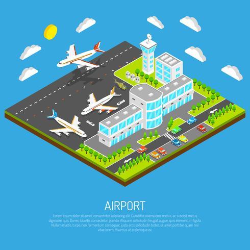 Affiche de l'aéroport isométrique vecteur