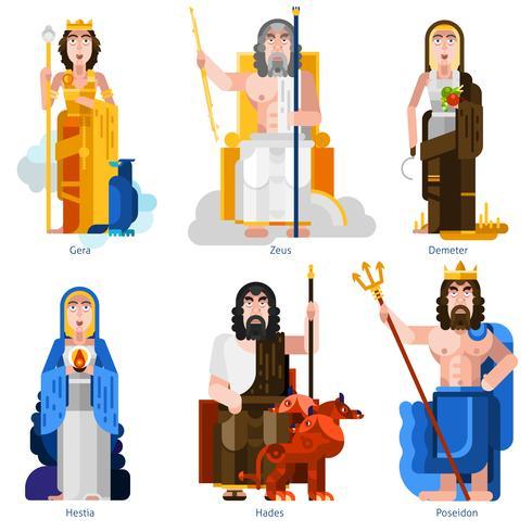 Ensemble décoratif d'icônes de dieux olympiques vecteur