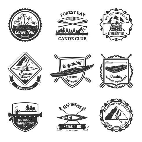 Rafting Canoë-kayak et emblèmes Set vecteur