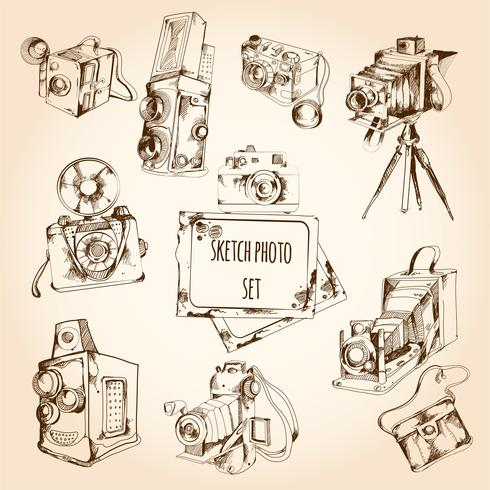 Croquis photo ensemble vecteur