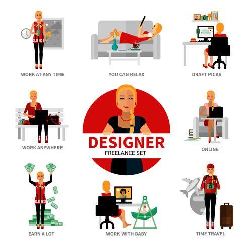 set de designer freelance vecteur
