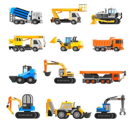 Jeu d'icônes de machines de construction vecteur