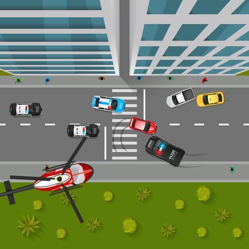 Police Chase Illustration vue de dessus vecteur
