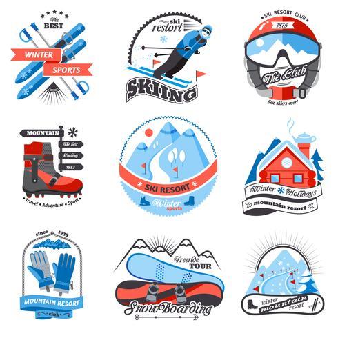 Ensemble d'emblèmes de station de ski vecteur