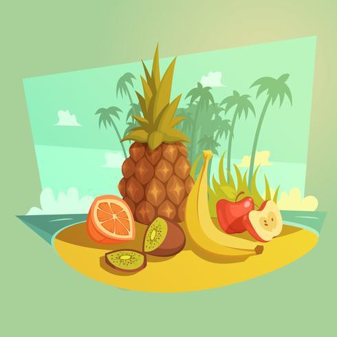 concept de bande dessinée de fruits vecteur