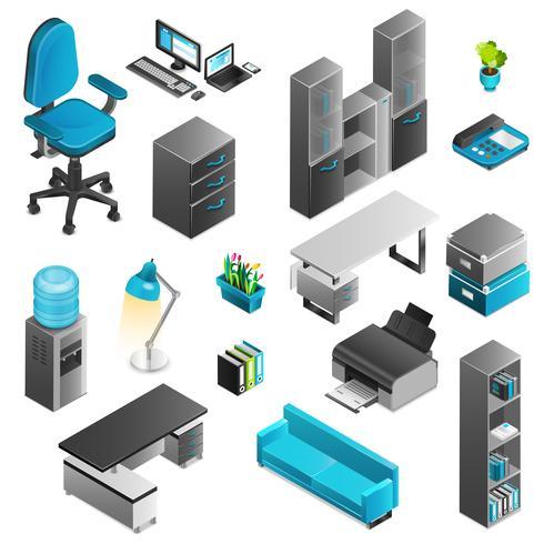 Ensemble d'icônes bureau intérieur vecteur