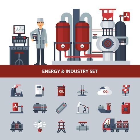 Ensemble énergie et industrie vecteur
