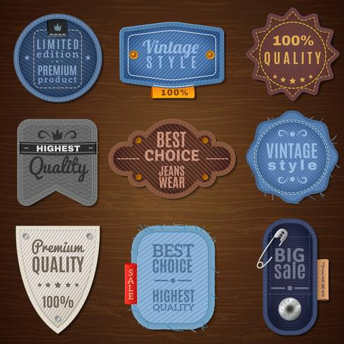 icônes d'étiquette de jeans vecteur