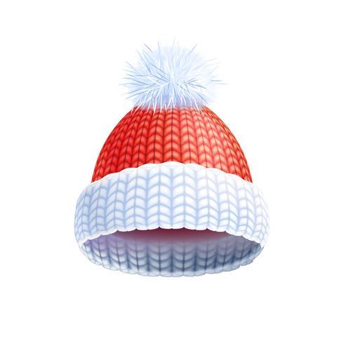 Pictogramme plat de chapeau tricoté hiver moderne vecteur