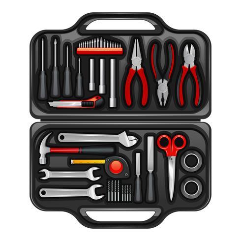 Boîte à outils avec kit d'outils vecteur