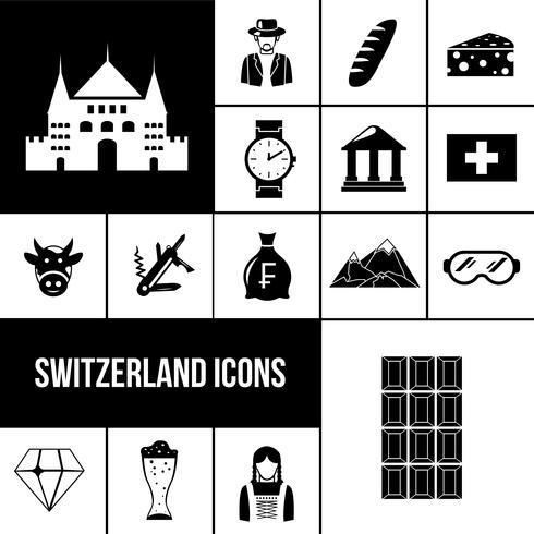 Ensemble d'icônes noir Suisse vecteur