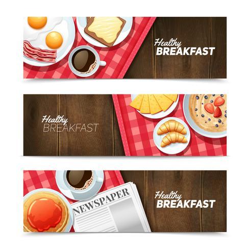 Ensemble de bannières horizontales petit déjeuner sain vecteur