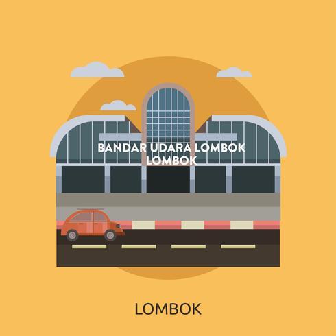Lombok, ville d'Indonésie, illustration conceptuelle, conception vecteur