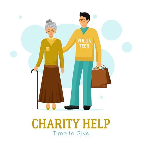 Affiche plate d'organisation de charité d'aide de volontaires vecteur