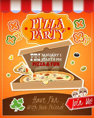 Affiche Pizza Party vecteur
