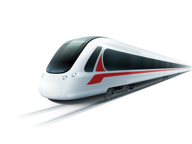 Image isolée réaliste de train à grande vitesse vecteur